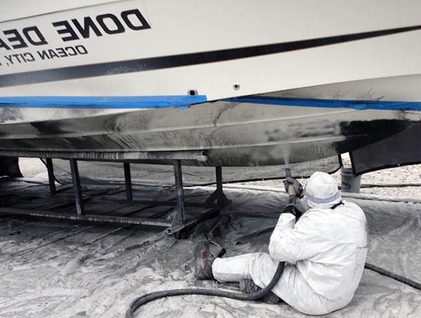 процесс обработки яхты